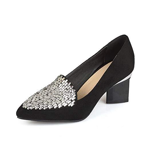 GDXH Neue Schuhe,Frauen Casual Shoes Dreieck Rhinestone Pointed Toe Handmade Suede Persönlichkeit Shallow Kouth für den Termin und gehen zur Arbeit,Black,38EU Black Suede Pointed Toe Pump