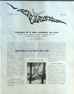 AERONAUTIQUE [No 72] du 01/05/1925 - EXPLORATION DE LA HAUTE ATMOSPHERE PAR AVION PAR LINDHOLM - LE RETOUR D'ARRACHART ET LEMAITRE par Collectif