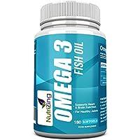 NutriZing Omega 3 ~ hochdosiert 2000mg, 660 EPA 440 DHA pro Portion~180 weiche Gele ~ Fischöl supplement pills ~ Nahrungsergänzungsmittel für Mann und Frau