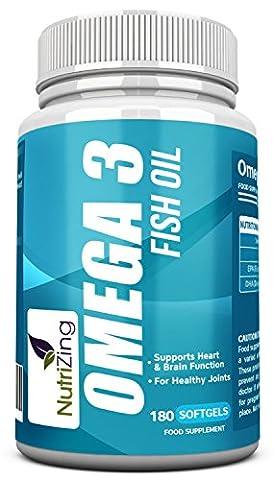 NutriZing Omega 3 hohe Festigkeit Ergänzung ~ hochdosiert 2000mg, 660 EPA 440 DHA pro Portion ~ 180 weiche Gele ~ Die essentiellen Fettsäuren unterstützen das Immunsystem, Herz und Gehirn Gesundheit, helfen beim Cholesterinprobleme, für die Gelenkpflege ~ Fischöl supplement pills ~ Geld-zurück-Garantie ~ Nahrungsergänzungsmittel für Mann und Frau ~ herzkreislauf einfach cholesterinsenker ~ Fatty acids ~ Fish oil capsules