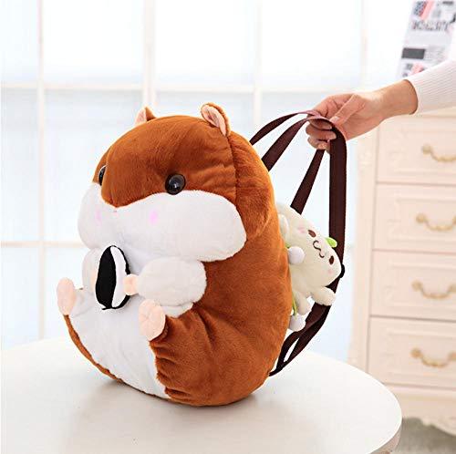 AJBB Niedlichen Hamster Plüsch Rucksack, Weiche Puppe Eichhörnchen Tier Stofftier, Tasche Für Mädchen Baby Kinder Geburtstagsgeschenke 40Cm