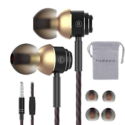 Écouteurs Intra-Auriculaires avec Micro, Hemesic Oreillettes Filaires Haute Qualité Audio Anti-Bruit Casque de Musique Stéréo Ergonomique avec Télécommande pour iPhone Smartphones Android MP3 - Noir
