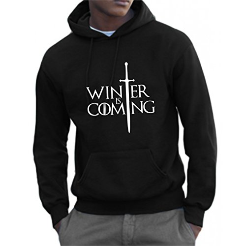 Bemode Felpa Uomo Cappuccio Winter IS Coming (Nero, L)