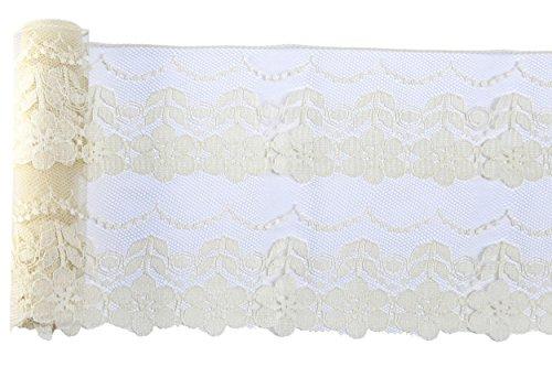 Haute qualité Vintage Antique DIY Wide Net Rachel Lace Ruban Découper Mariée Robe de bal Nacelle Bordure 145mm Large M4736 (5 Mètre, Crème)