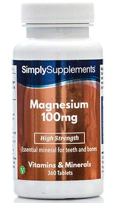 Magnesium 100mg   360 Tablets   High Strength   Healthy Bones - Energy - Endurance   100% money back guarantee   Manufactured in the UK from Simply Supplements