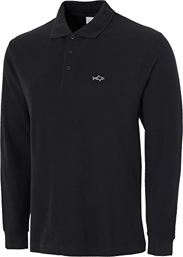 John Shark Long Sleeve Polo Shirts for Men Designer Neck Tops Grey Black Navy (M, Black)