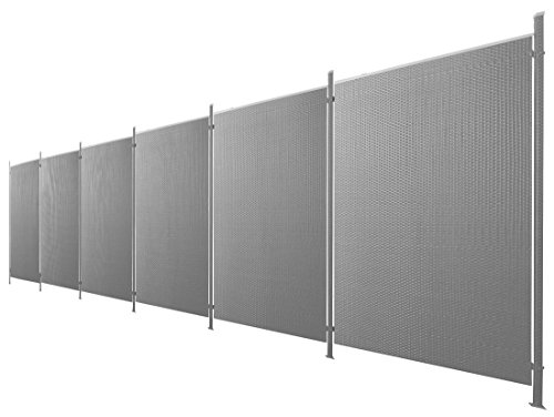 Poly-Rattan Sichtschutz / Zaun-Set 13-teilig anthrazit ca. 1137cm Prime Tech