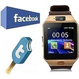 VOSMEP Reloj Inteligente Smart Watch Bluetooth 3.0 Teléfono Inteligente Pulsera Pantalla Cámara Táctil para Android Samsung HTC LG Huawei Xiaomi Reloj Deportivo SIM/TF Marrón SM2