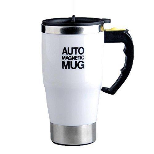 Preisvergleich Produktbild SP Edelstahl-Kaffeetasse Coffee Cup 350ml Selbstrührende Becher Self Stirring Mug Elektrische automatische rührende Kaffee Teetasse Fauler Selbstrührende Becher Selbstmischkaffeetasse für Morgen ,  Weiß ,  450ml