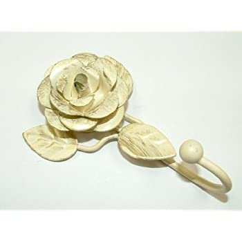 1 x Rose Ivory Vintage Shabby Chic Curtain Tie Back Hook