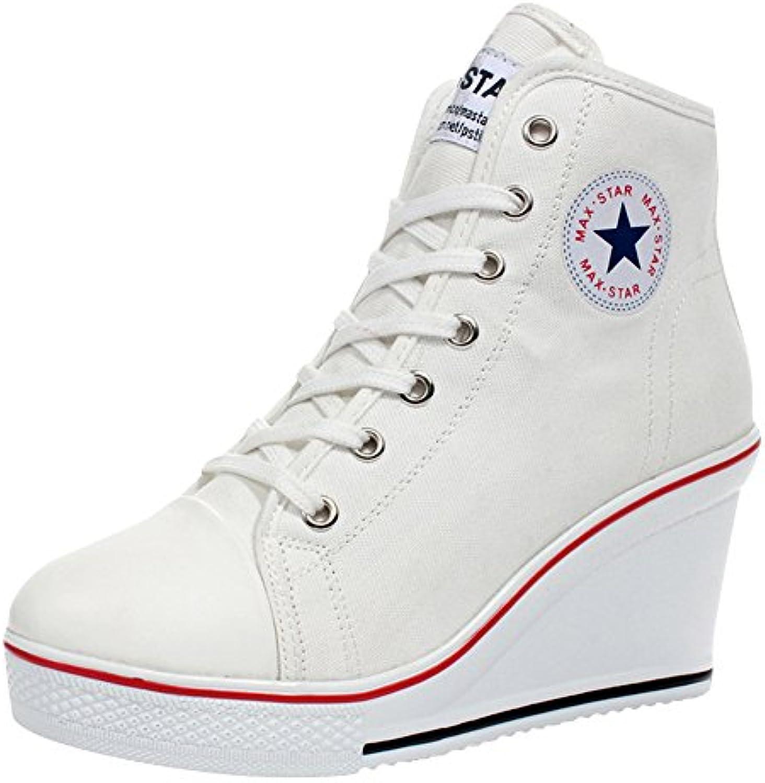 Kivors Mujer Cuñas Zapatos De Lona High-Top Zapatos Casuales Encaje Hebilla Cremallera Lateral Tacón Cuña 8CM