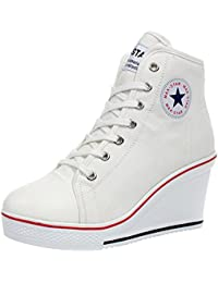 Kivors Sneaker Donna Zeppa Alte Donna Scarpe Tela in Alte Zeppa Interna Zip  9 CM Allacciate Donna Ginnastica Sport Tela Lacci in Canvas… b20f0a32d52
