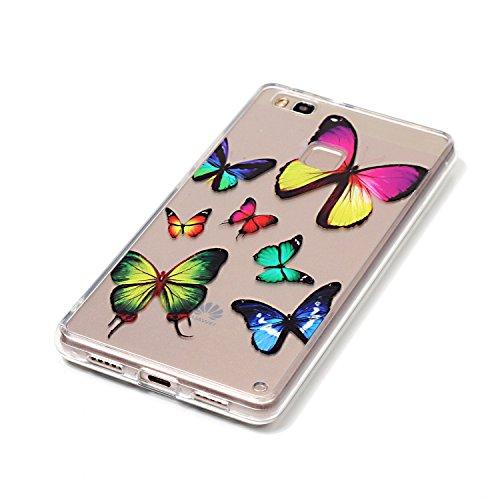 Coque Huawei P9 Lite,Transparent Housse Etui Couverture pour Huawei P9 Lite,Ekakashop Ultra Mince Slim-fit imprimée Coque de Protection en Hybrid Crystal Clear PC Plastique Silicone Arrière Cover Case Coloré Papillon