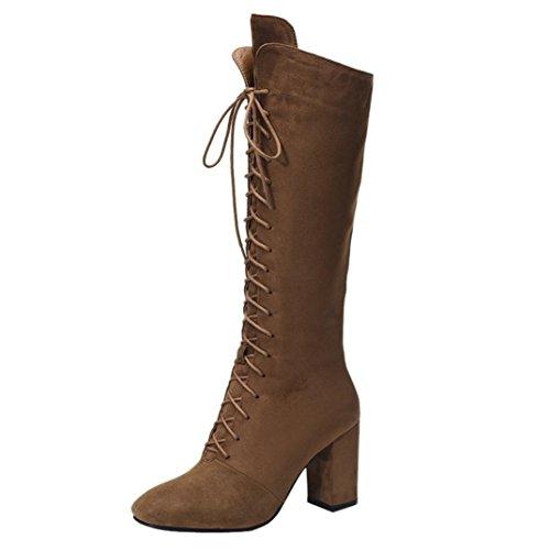 Frauen Over-High-Schuhe Upxiang Winter High Heel quadratische Ferse Kampfstiefel vorne Schnür-Band Krawatte Zip Kniehohe Stiefel (37, Khaki) (Zip-knie-boot)
