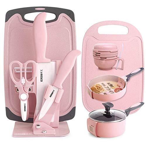 Kinderbesteck-Set, Rosa Süßes Kinder-Nahrungsergänzungsmittel Komplettes Set Besteck, umweltfreundliche Materialien ohne BPA und Spülmaschinenfestes und gesundes Geschirr (Messer + Mahlbecher + Ergänz