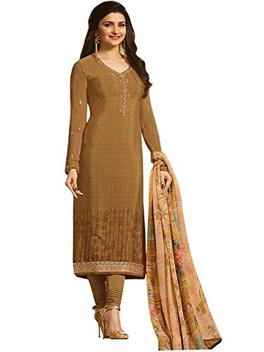 Stylish Fashion Women's wear Khakhi straight semi stitched salwar suit