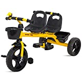#8: Baybee 2 in 1 Twinker Bell Baby Tricycle Safety Double Seat with Basket - Yellow