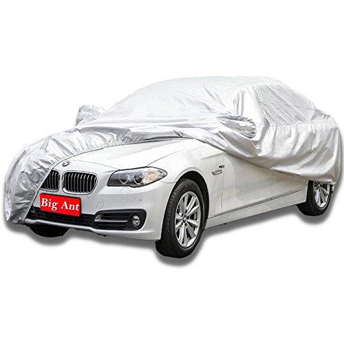 Big Ant Universal Vollgarage Autoabdeckung - Atmungsaktive Wasserdichte Auto Abdeckung,Silber