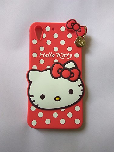 Dream2Cool 3D Cute Style Hello Kitty Soft Back Cover for HTC Desire 728 - Red