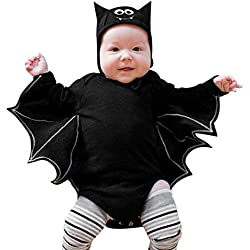 Disfraz Halloween Bebe niño, 3-24 Meses bebé Manga Larga Halloween Cosplay Mangas murciélago Bata + Sombrero de Oreja de Dibujos Animados