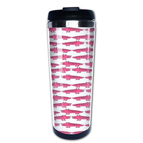 Alligator Pink Alligators Cute Alligator Design Cute Reptiles Pink Gator Girl Multi Insulated Stainless Steel Travel Mug 14 oz Classic Lowball Tumbler with Flip Lid