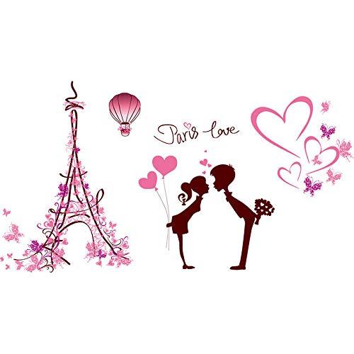 MEIWALL L'amour un couple chaud à Paris Stickers muraux amovibles pour enfants chambre d'enfant chambre salon cuisine enfants chambre mur art décor autocollant