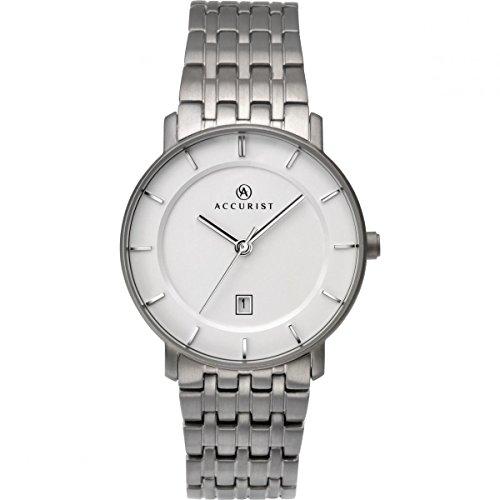 Accurist–Reloj analógico con esfera de color blanco y pulsera de titanio 8173