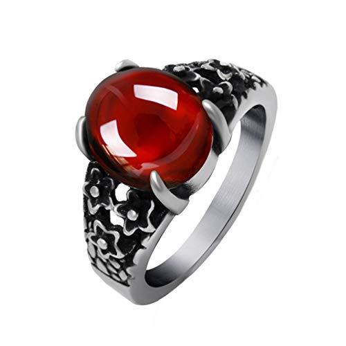 OAKKY Unisex Klassisch Jahrgang Geschnitzt Blume Muster Oval Granat Edelstein Ring Rostfreier Stahl Gotisch Drachenklaue Rot Größe 57(18.1) (Ring Silber Ewigkeit Granat)