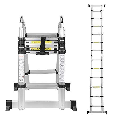 Escalera telescópica de aluminio 3,8M lado doble 1,9M + 1,9M escalera telescópica escalera plegable escalera de usos múltiples escalera de 150 kg de capacidad