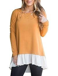 Primavera Otoño Mujeres Larga Tops Moda Patchwork Blusa Remata tee Jumpers Casual Cuello Redondo Camisetas de