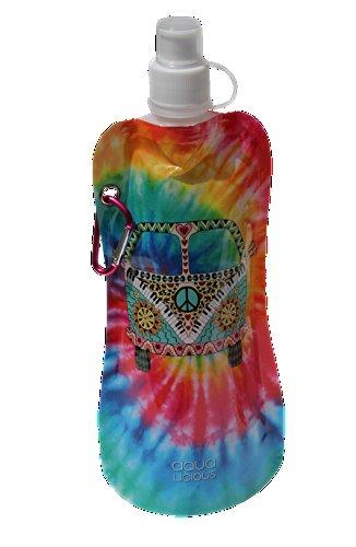 Aqua Licious 6225 Faltbare Trinkflasche mit Karabiner-Yellow Hippie - Aqua-wasser-flasche