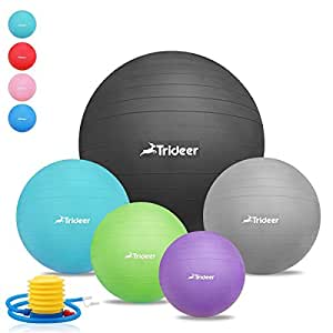 45cm - 85cm Exercise Ball, Birthing Ball, Yoga Swiss Fitness Ball, Natural Birth Maternity Ball, with Anti-slip Matte Surface, Anti-Burst ( 2000lbs ) TRIDEER Extra Thick Core Stability Balance Strength Workout Ball, Body Balance Trainer Balancing Yoga Pilates Swedish Stabilization Ball with Pump Plug Kit, for Pilates, Yoga, Core Cross, Training, Physical Therapy, Work Desk Office, for Men Women Lady(Sizes come in 45cm, 55cm, 65cm, 75cm, 85cm available for your option) (Dark Blue, 45cm)