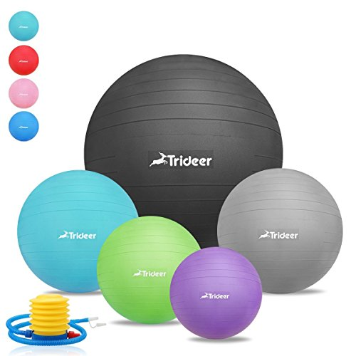 45cm - 85cm Exercise Ball, Birthing Ball, Yoga Swiss Fitness Ball, Natural Birth Maternity Ball, with Anti-slip Matte Surface, Anti-Burst ( 2000lbs ) TRIDEER Extra Thick Core Stability Balance Strength Workout Ball, Body Balance Trainer Balancing Yoga Pil