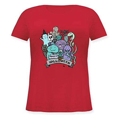 Halloween - Happy Halloween Monster - XL (50/52) - Rot - JHK601 - Lockeres Damen-Shirt in großen Größen mit Rundhalsausschnitt