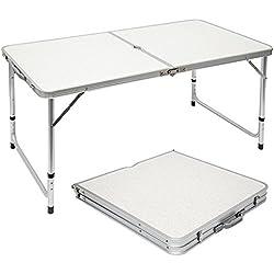 Mesa para acampada | Plegable Portátil | Altura Regulable | ideal para picnics camping playa jardín etc | ca 120x60cm