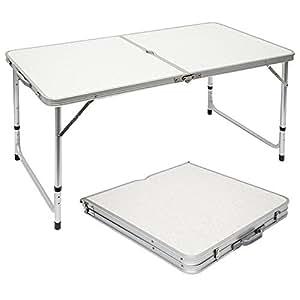 AMANKA Tavolino da PIC-nic 120x60x70cm Tavolo da Campeggio in Alluminio Altezza Regolabile Pieghevole Formato Valigia Grigio Chiaro