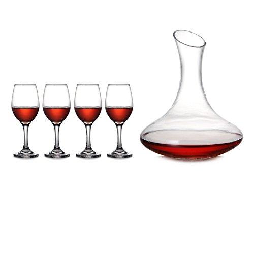HQY Home Glas Rotweinglas Set Kelch Weißwein Glas Schrägglas Dekanter Weinset,Transparent,Fünf...