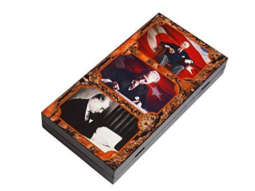 XXL Atatürk Tavla Spiel - 6er Fotoraster - 47 x 47cm mit Magnetverschluss + Holzchips