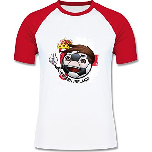 EM 2016 - Frankreich - Fußballjunge Nordirland - zweifarbiges Baseballshirt für Männer Weiß/Rot