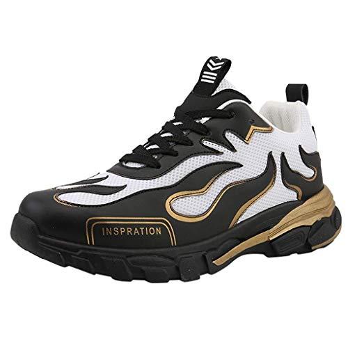Caren Scarpe da Corsa da Donna Traspiranti in Pizzo Scarpe Sportive Selvagge Scarpe Casual di Tendenza Stile Semplice (Color : Nero, Size : 43 EU)