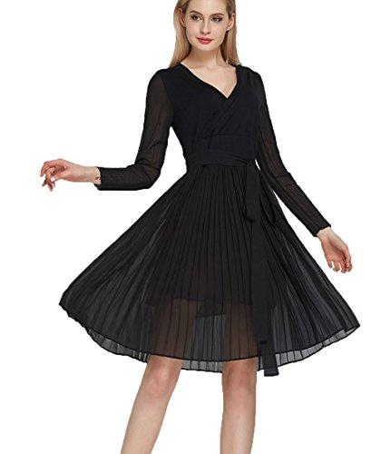 lemongirl-women-bow-belt-chiffon-dress-long-sleeve-a-line-dresses