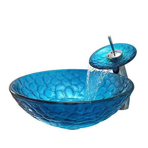 Wasserfall-Wasserhahn-Set, bleifreier Behälter aus gehärtetem Glas und Wasserfall-Wasserhahn aus Chromkupfer, Abfluss-Set zum Aufklappen, Heißschmelz-Färbung ()