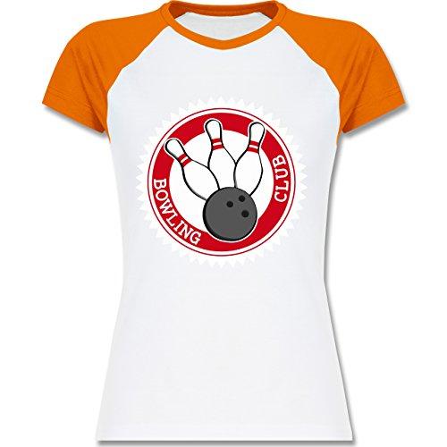 Shirtracer Bowling & Kegeln - Bowling Club Badge Abzeichen - Zweifarbiges Baseballshirt/Raglan T-Shirt für Damen Weiß/Orange