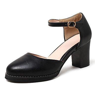 LvYuan Damen-Sandalen-Büro Kleid Lässig-Kunstleder-Blockabsatz-Komfort-Schwarz Gelb Weiß Black