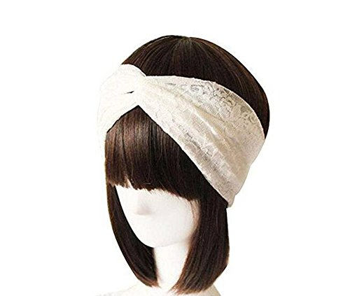 Frauen Spitze Retro Turban Twist Haarband Criss Cross HEAD Twisted geknotet weichem Haar Band Kopftuch Haar Zubehör breit Version (weiß)