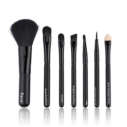 Maquillage Brosse, Kingwo 7Pcs Eye-liner Lèvre Poudre Pinceau cosmétique (Noir)