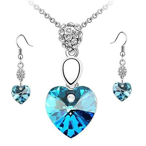 Sunnywill Frauen Strass Kristall Halskette Ohrringe Schmuck-Set für Damen Mädchen (Hellblau) (Strass-kreuz-snap)