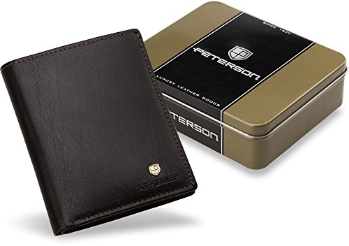 elegante Herren - Brieftasche 3 in 1 praktische Geldbörse + Kartenetui+ Portmonnaie für Herren PETERSON Naturleder Metall