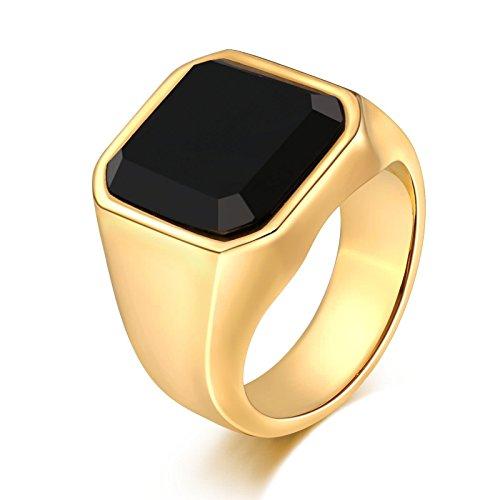 (Bishilin Edelstahl Herren Ringe Edelstahlring Schwarz Zirkonia Glatt Quadrat Breite 17 MM Retro Ring Gold Partnerring Größe 67 (21.3))
