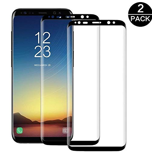 DoriUp Galaxy S8 Panzerglas Schutzfolie [2 Stück], 3D Panzerfolie Displayschutz Gehärtetem Glass Displayschutzfolie für Samsung Galaxy S8 [5.8'']-Schwarz2